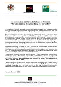 3 novembre Don Luigi Ciotti ad Alessandria