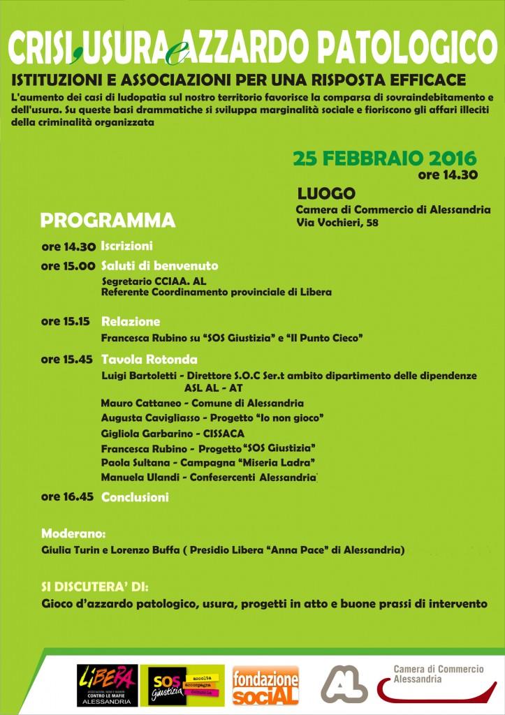 locandina SOS Giustizia 25 febbraio Alessandria